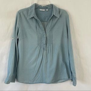 New York & Co pullover chambray top size L